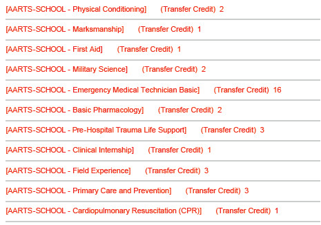 68w college credits AARTS Transcripts