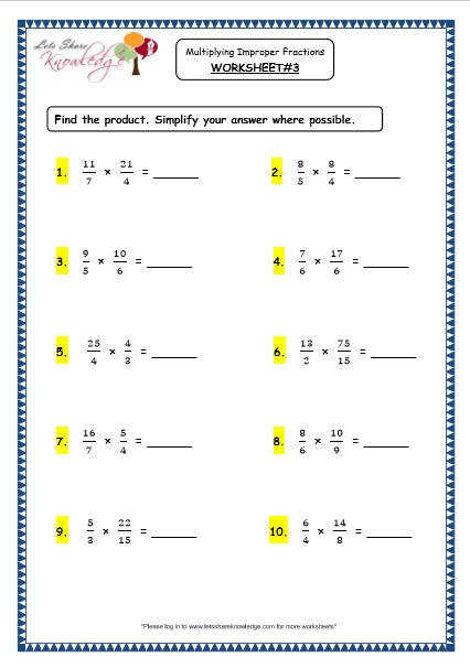 Grade 4 Maths Resources 2 6 2 Multiplying Improper Fractions Fractions worksheets