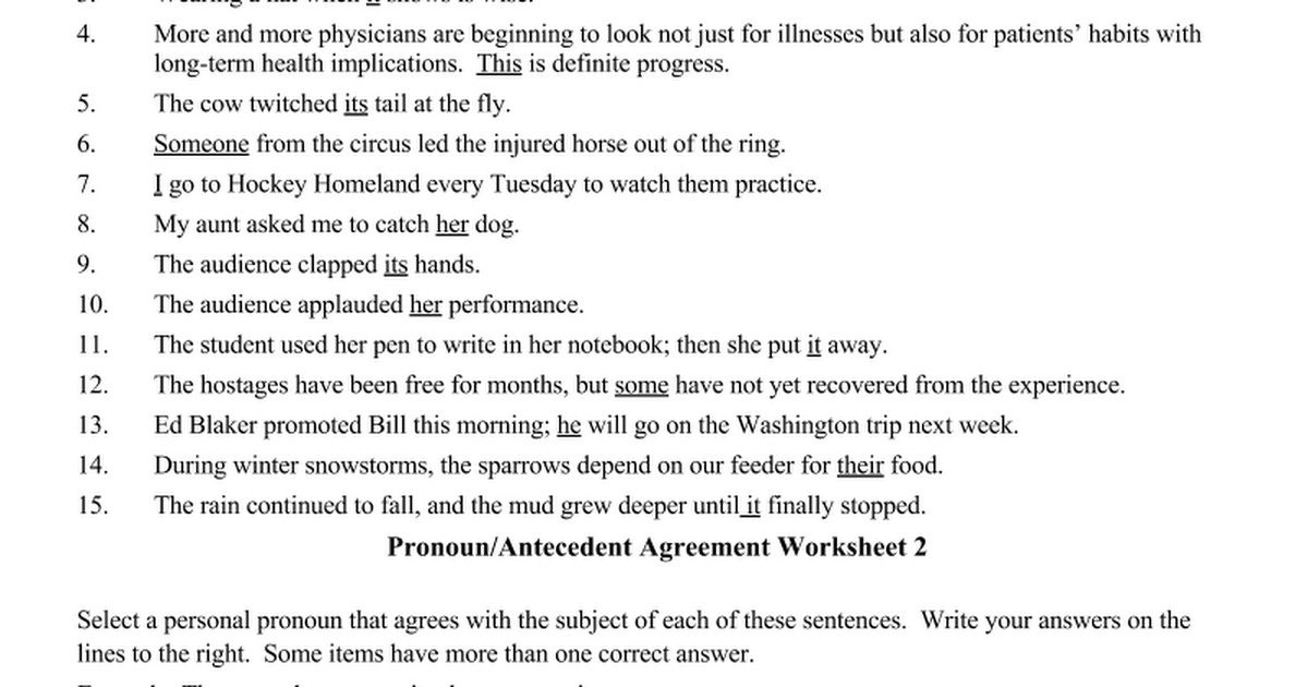 Awesome Collection of Pronoun Antecedent Agreement Worksheets With Additional Free