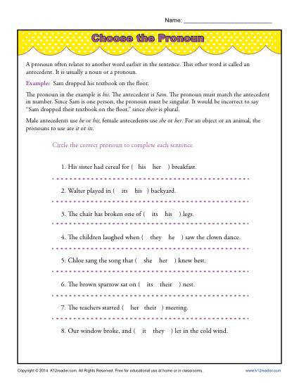 Choose the Pronoun – Pronoun Agreement Worksheet