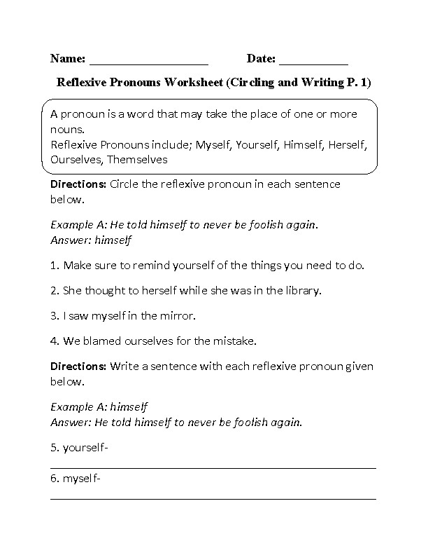 Circling and Writing Reflexive Pronouns Worksheet