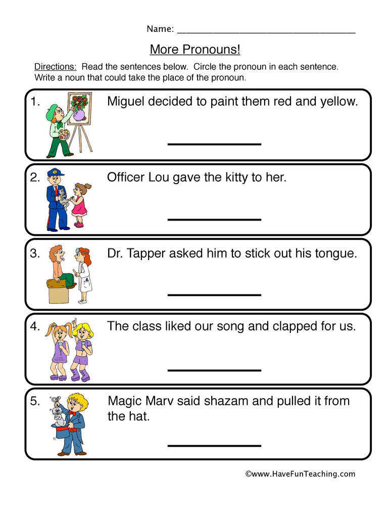 Pronouns Worksheet 2 – More Pronouns
