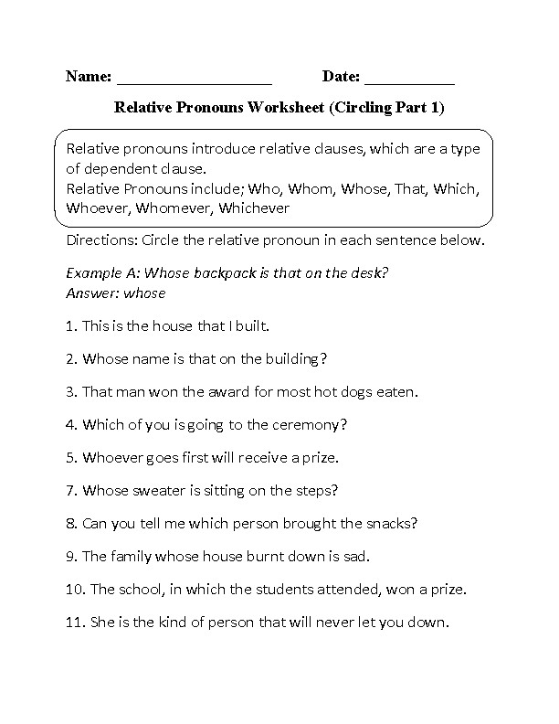 Relative Pronouns Worksheets