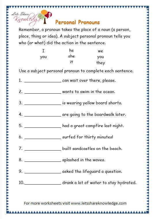 page 4 personal pronouns worksheet