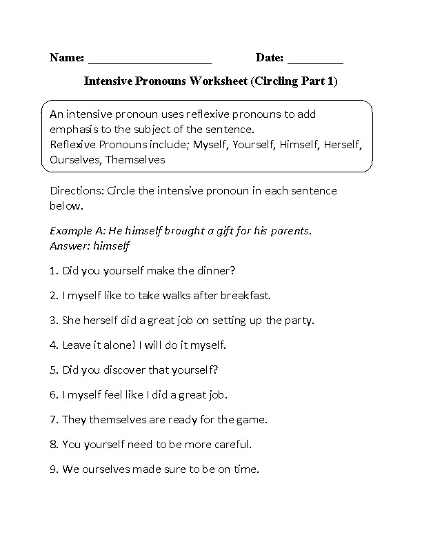 Intensive Pronouns Worksheet