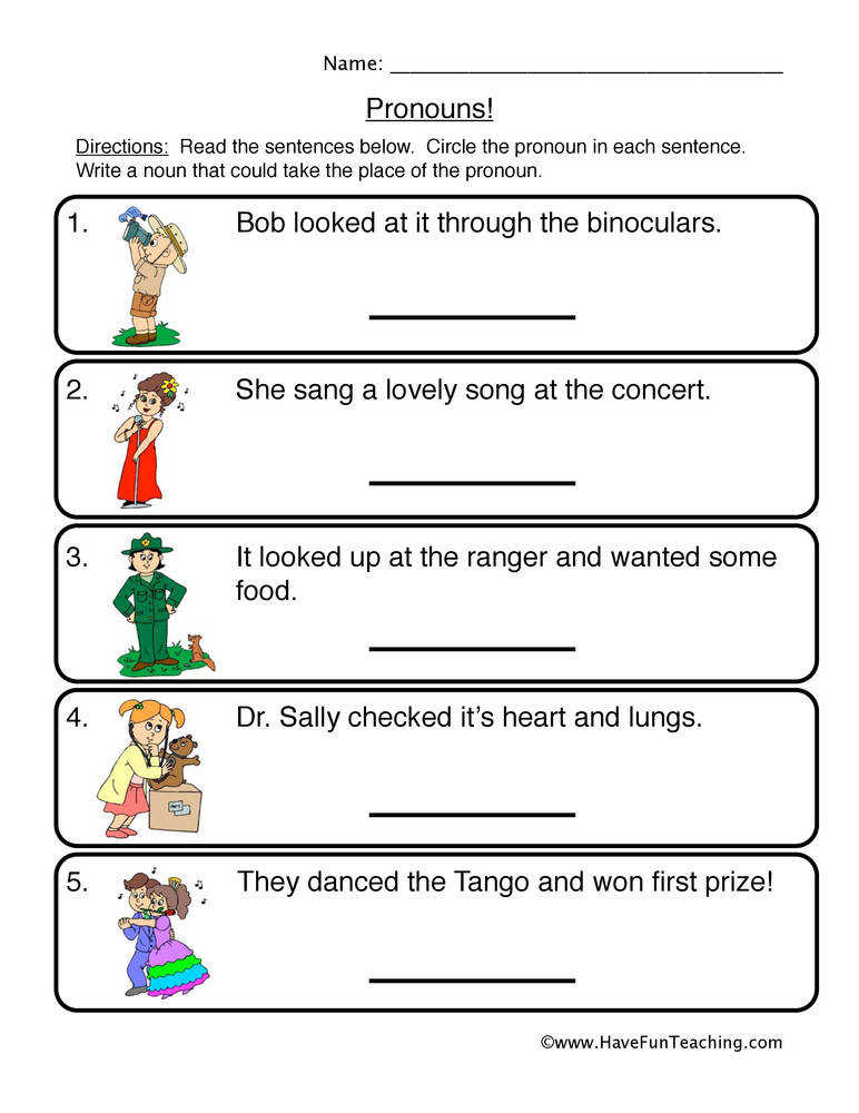 Pronouns Worksheet 1 – Circle & Write