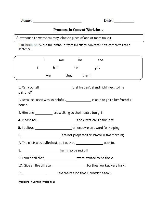 Pronouns in Context Worksheet