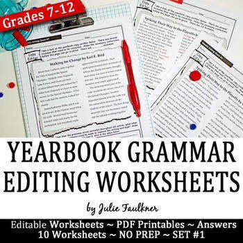 Yearbook Grammar Proofreading Worksheets Editable Set 1 Digital Hybrid