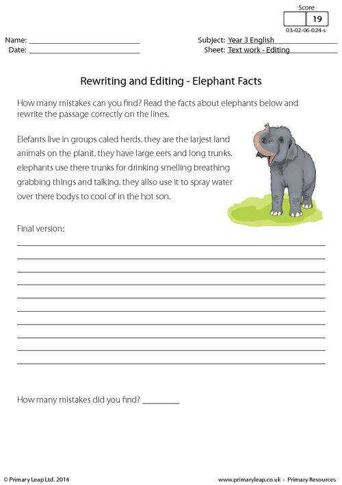 PrimaryLeap Rewriting and Editing Elephant Facts Worksheet