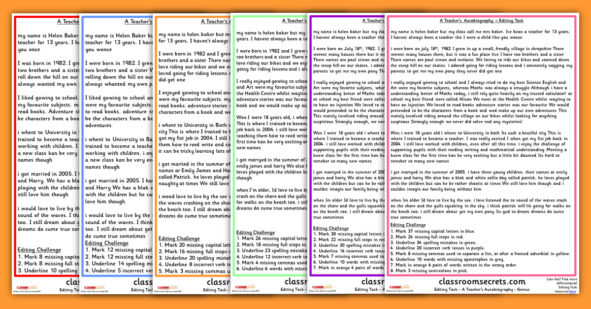 A Teacher s Autobiography Worksheets for Proofreading and Editing