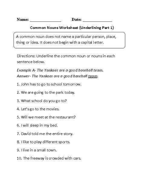 Switching mon to Proper Nouns Worksheet third fourth and fifth graders homework helper