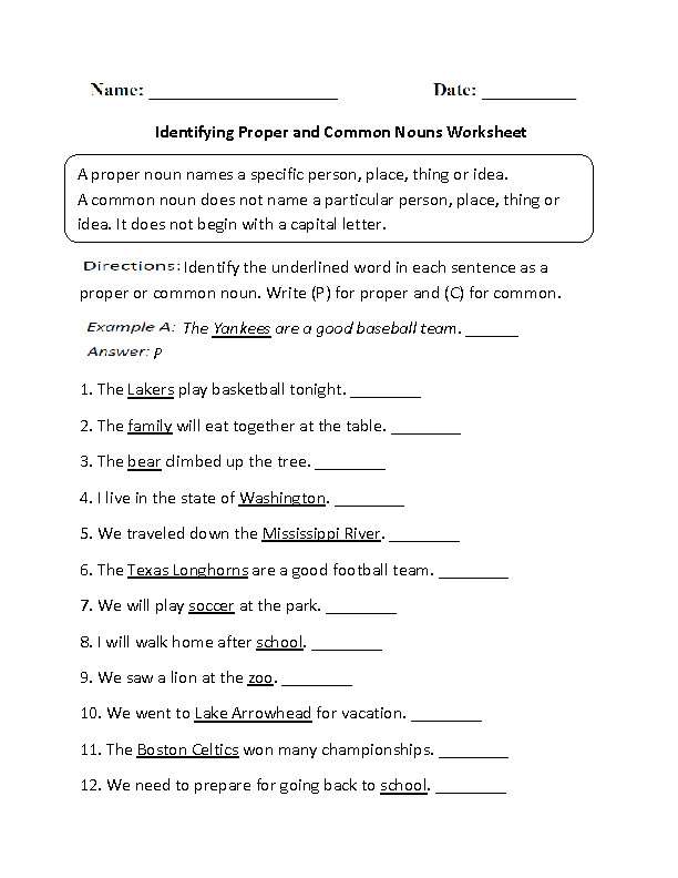 Proper and mon Nouns Worksheet
