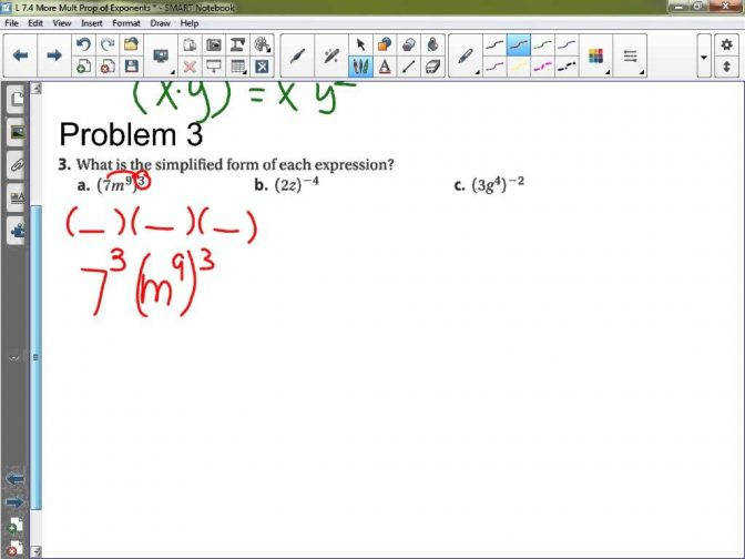 Algebra 1 Lesson 7 4 More Multiplication Properties Exponents Worksheet Maxresde Multiplication Property Exponents