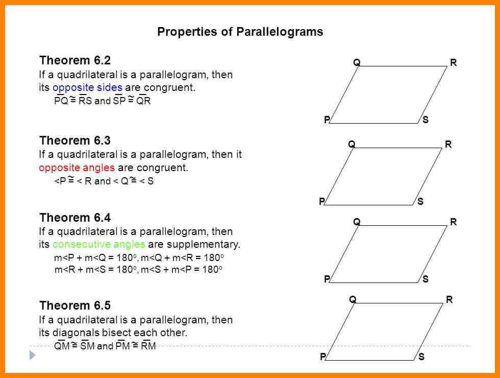 5 properties of parallelogram