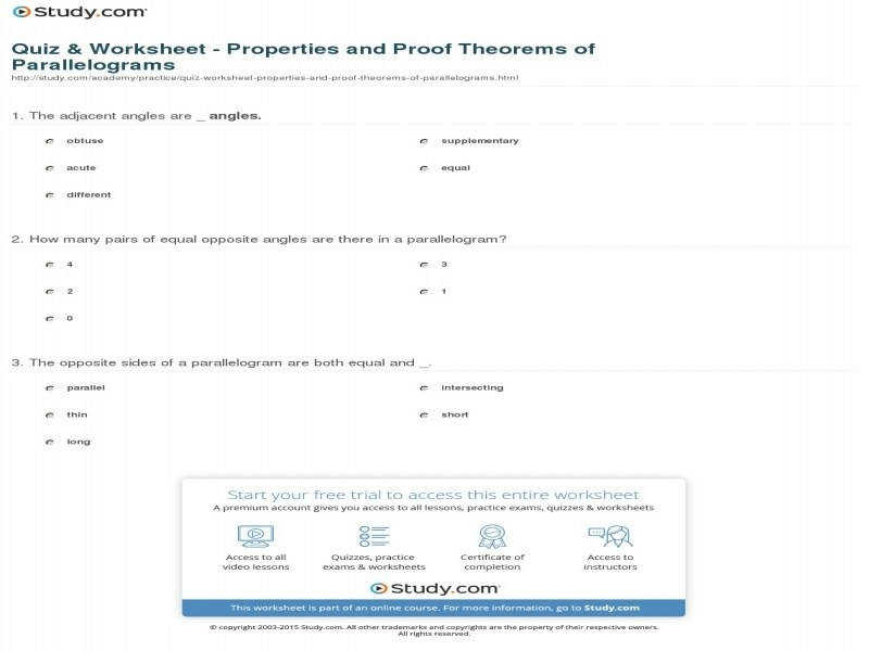 Quiz & Worksheet – Properties And Proof Theorems Parallelograms