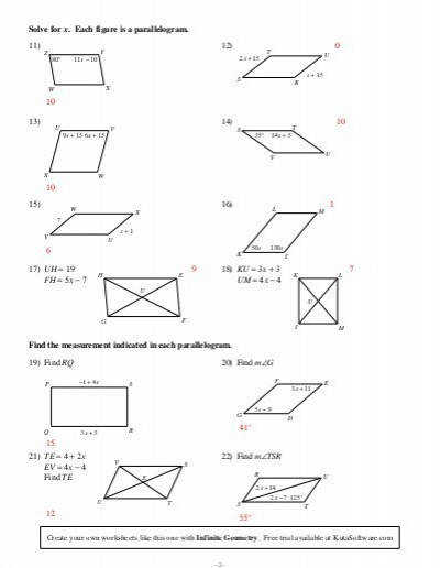 Properties Parallelograms Worksheet The Best and Most
