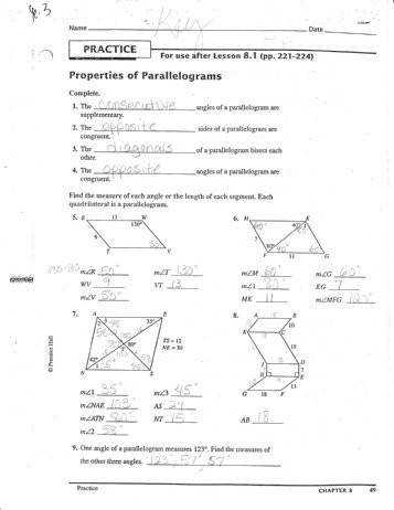 Properties of rhombus and parallelograms ws answers