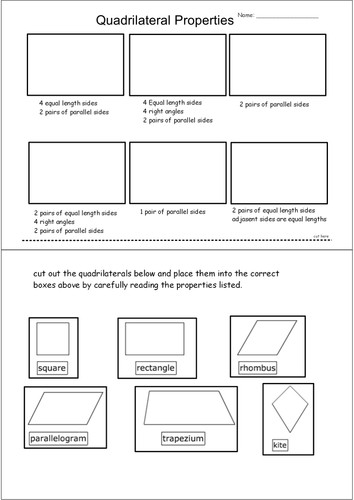 Properties of Quadrilaterals Cut & Stick by andytaylor125 Teaching Resources Tes