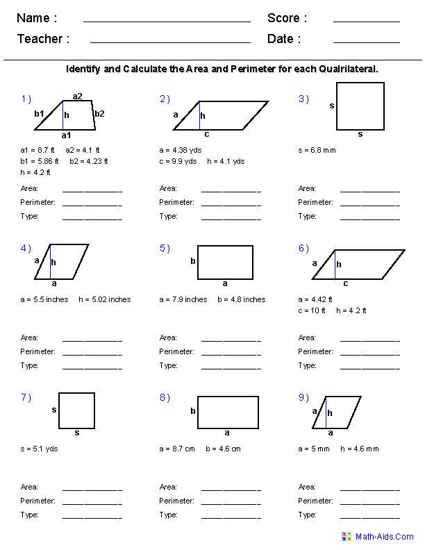 Quadrilaterals Worksheets