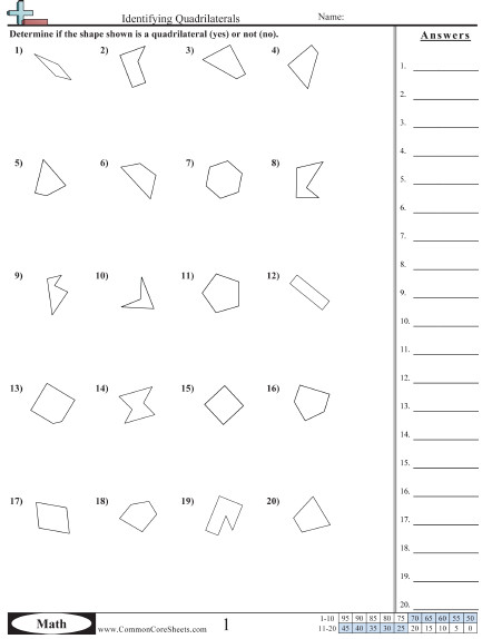 Identifying Quadrilaterals worksheet Identifying Quadrilaterals worksheet