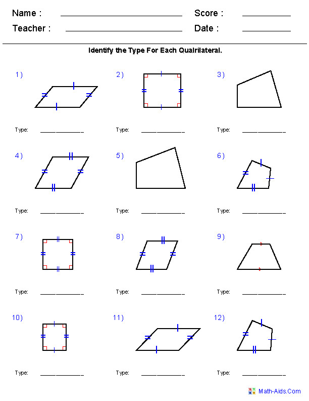 Identify Quadrilaterals Worksheets