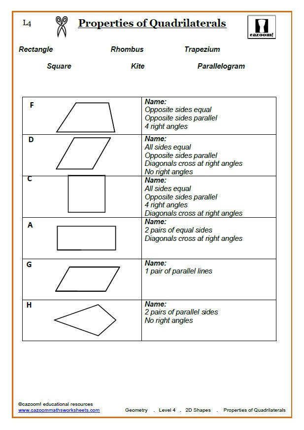 Quadrilaterals Maths Worksheet Quadrilaterals Answer