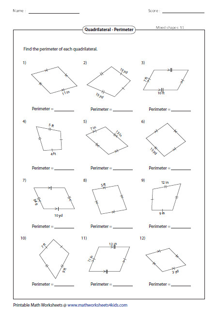Based on the properties of quadrilaterals find the perimeter of each figure