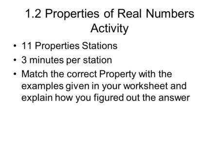 1 2 Properties of Real Numbers Activity