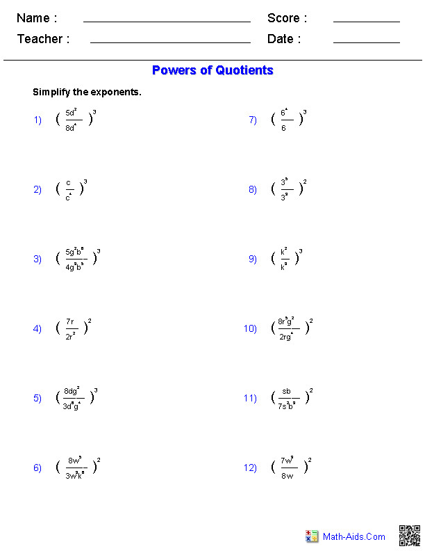 and Quotients Worksheets