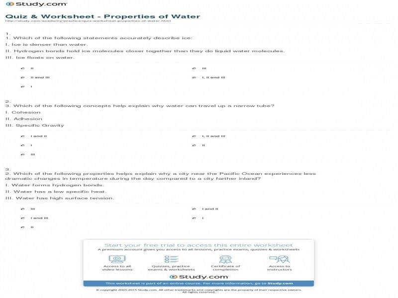 Quiz & Worksheet – Properties Water
