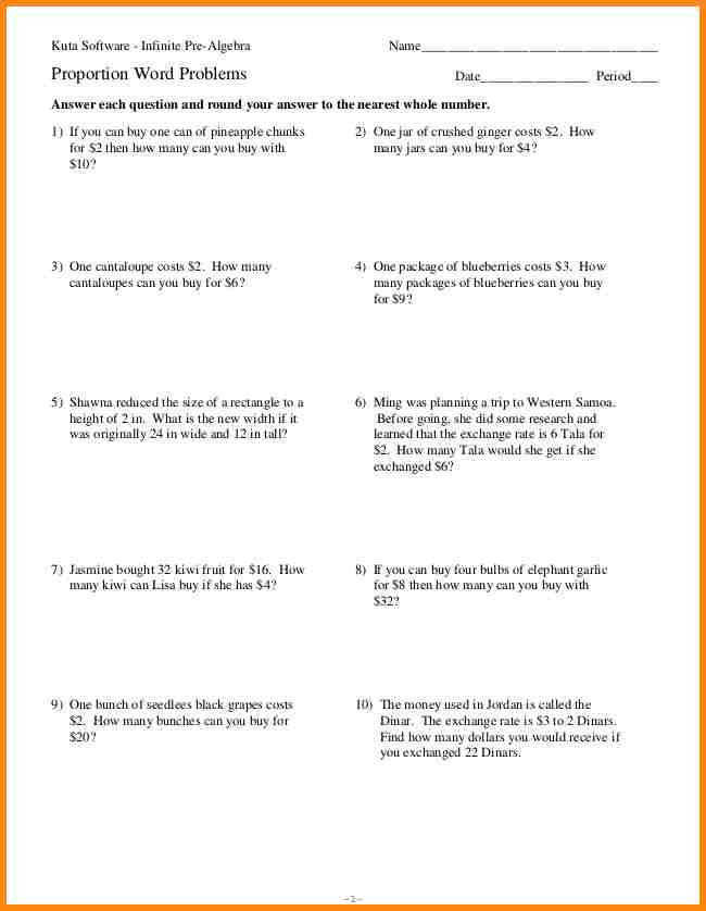 Ratio and proportions worksheets