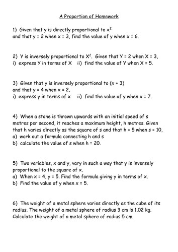 Direct Proportion Word Problems Worksheets Gcse Proportionality