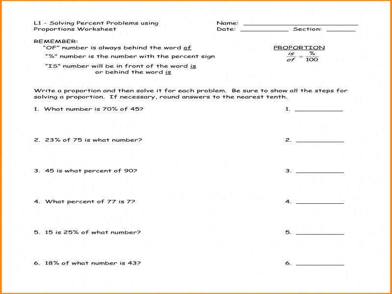 4 Percent Problems Worksheet