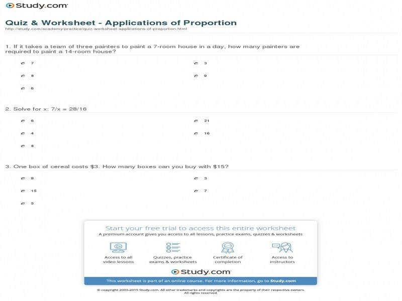 Quiz & Worksheet Applications Proportion