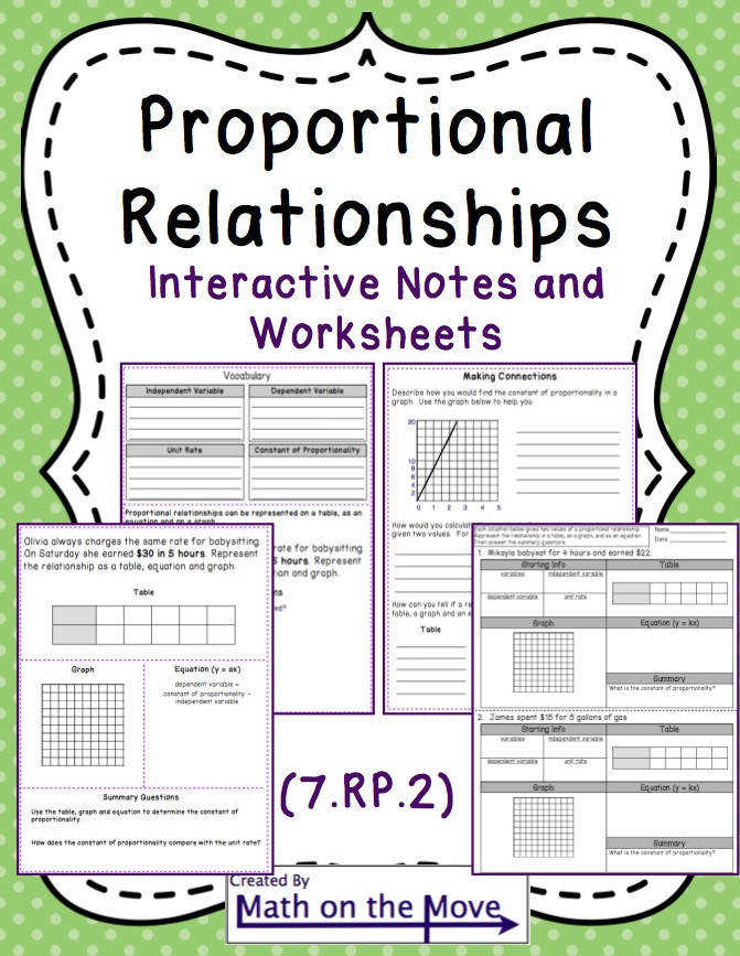 Proportional Relationships tables graphs equations Notes Practice 7 RP 2