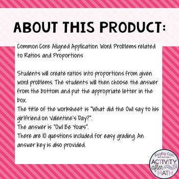 Valentine s Day Owl Ratio and Proportion Word Problems Puzzle