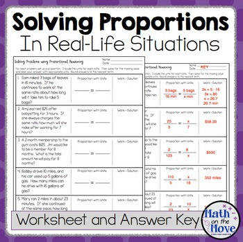 Proportions Word Problem Worksheet FREEBIE