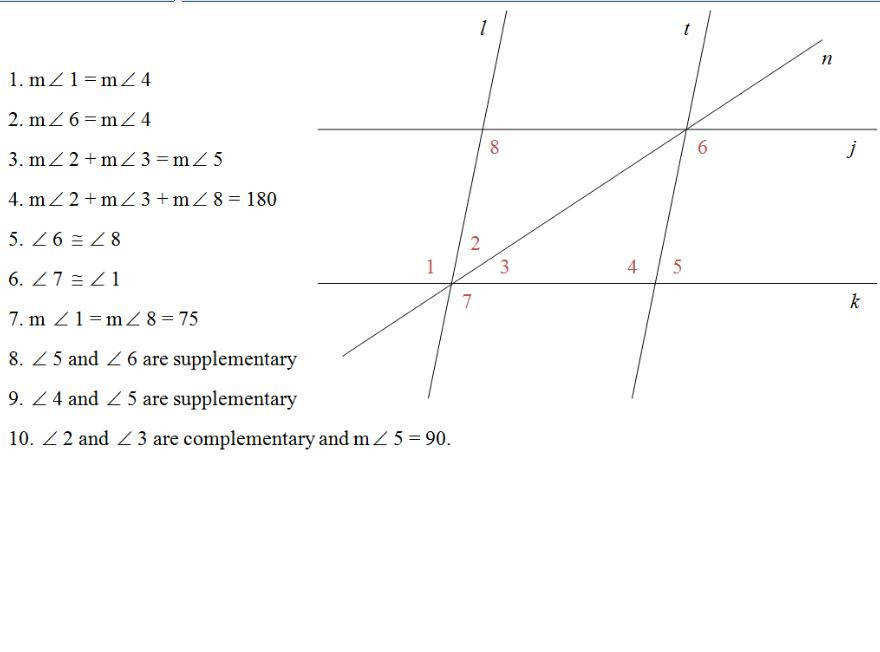 Proving Lines Parallel Worksheet