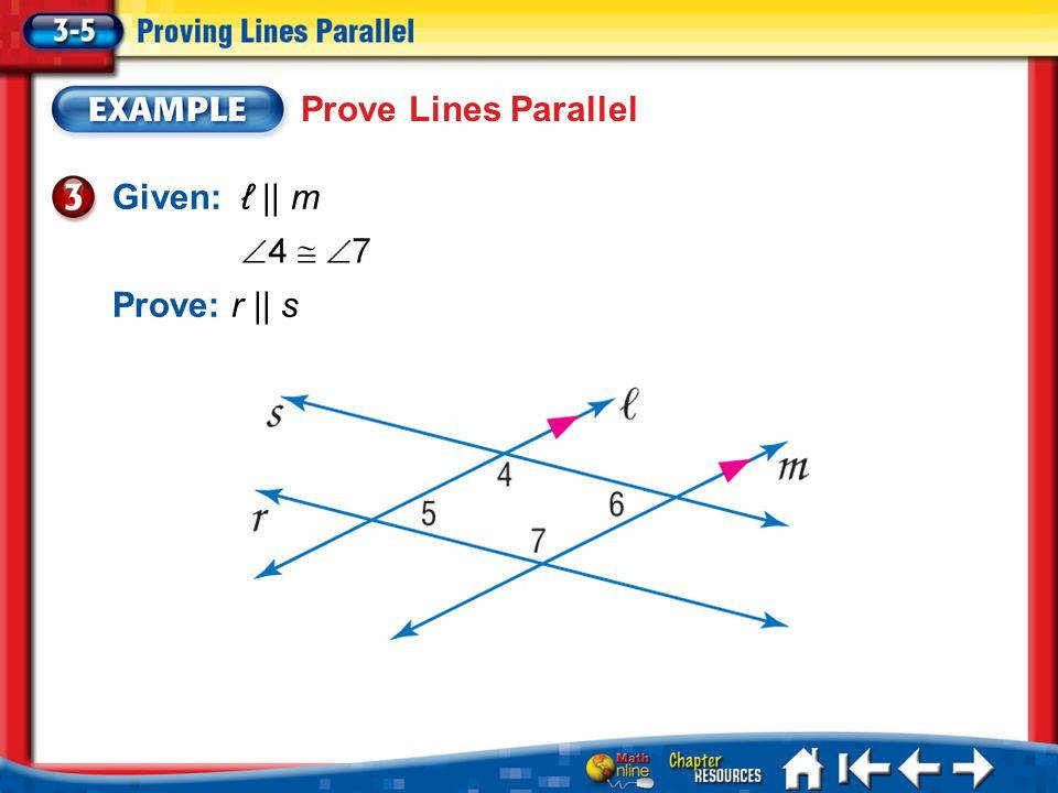 22 Lesson 3 5 Example 3 Prove Lines Parallel Prove r s