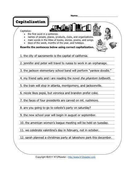 Free Printable Capitalization Worksheet Lesson Activity
