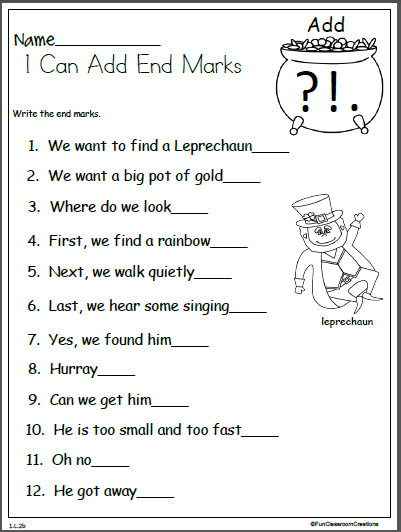 Patrick s Day end mark punctuation practice worksheet