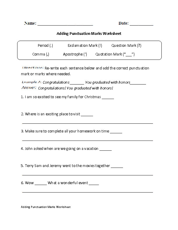 Grades 6 8 Punctuation Practice Worksheets