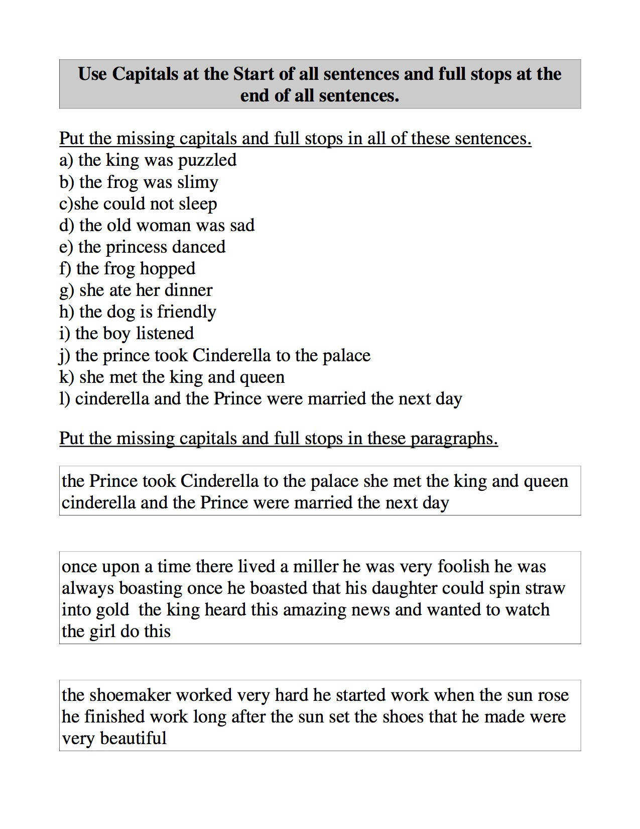 Use Capitals at the Start of all sentences and Full Stops at the End of all Sentences Worksheet