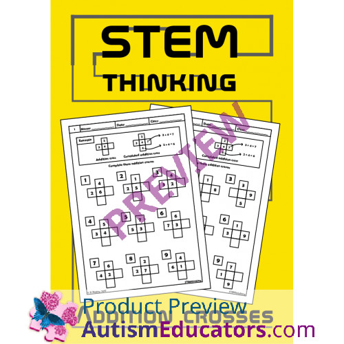 Addition Crosses Math Puzzle Worksheets