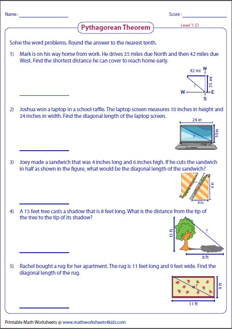 Pythagorean Theorem worksheets contain skills on right triangles missing leg or hypotenuse Pythagorean triple word problems printable charts and more
