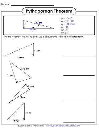 Printable Pythagorean Theorem Worksheets