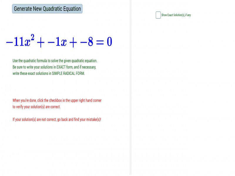 Quadratic formula Worksheet | Homeschooldressage.com