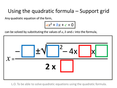 Quadratic Formula Differentiated Worksheets by zbrearley UK