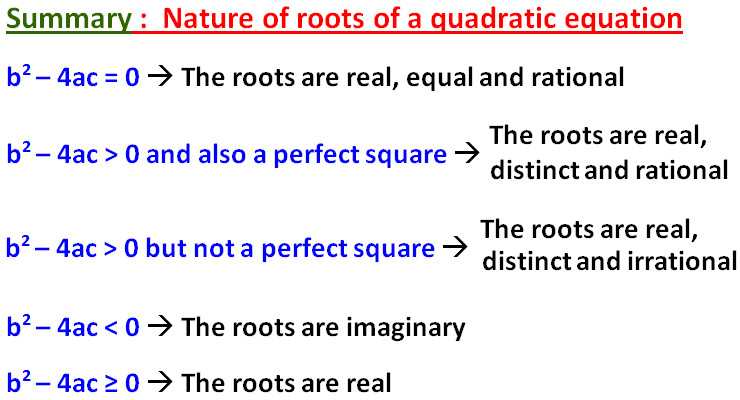 "Now let us look at some examples on ""nature of the roots of quadratic equations worksheet pdf"""