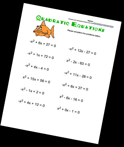 The Quadratic Equation Worksheet Maker will generate a printable worksheet of problems and an answer key Select your options in the form below and click on
